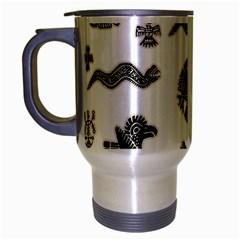Aztecs Pattern Travel Mug (silver Gray) by Valentinaart