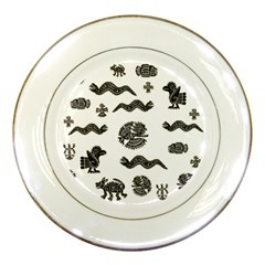 Aztecs Pattern Porcelain Plates by Valentinaart