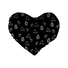 Chimpanzee Standard 16  Premium Flano Heart Shape Cushions by Valentinaart