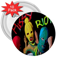 Pussy Riot 3  Buttons (10 Pack)  by Valentinaart