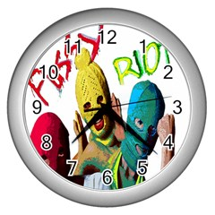 Pussy Riot Wall Clocks (silver)  by Valentinaart