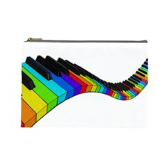 Rainbow Piano  Cosmetic Bag (large)  by Valentinaart