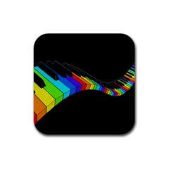 Rainbow Piano  Rubber Square Coaster (4 Pack)  by Valentinaart