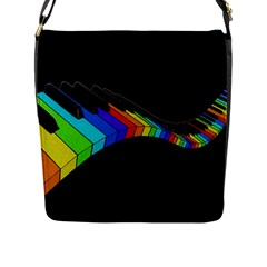 Rainbow Piano  Flap Messenger Bag (l)  by Valentinaart