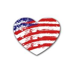 American Flag Heart Coaster (4 Pack)  by Valentinaart