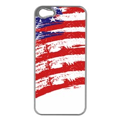 American Flag Apple Iphone 5 Case (silver) by Valentinaart