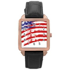American Flag Rose Gold Leather Watch  by Valentinaart