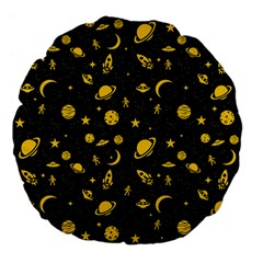 Space Pattern Large 18  Premium Flano Round Cushions by ValentinaDesign