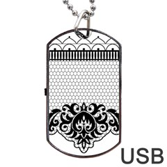 Transparent Lace Decoration Dog Tag Usb Flash (one Side) by Nexatart