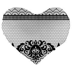 Transparent Lace Decoration Large 19  Premium Heart Shape Cushions by Nexatart
