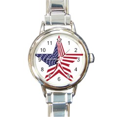 A Star With An American Flag Pattern Round Italian Charm Watch by Nexatart