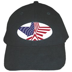 A Star With An American Flag Pattern Black Cap by Nexatart