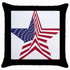 A Star With An American Flag Pattern Throw Pillow Case (black) by Nexatart