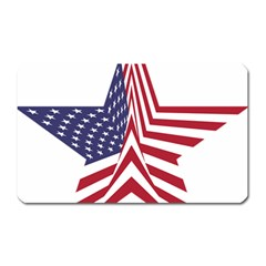 A Star With An American Flag Pattern Magnet (rectangular) by Nexatart