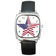 A Star With An American Flag Pattern Square Metal Watch by Nexatart