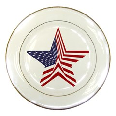 A Star With An American Flag Pattern Porcelain Plates by Nexatart