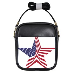A Star With An American Flag Pattern Girls Sling Bags by Nexatart