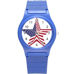 A Star With An American Flag Pattern Round Plastic Sport Watch (s) by Nexatart