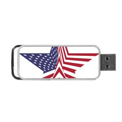 A Star With An American Flag Pattern Portable Usb Flash (two Sides) by Nexatart