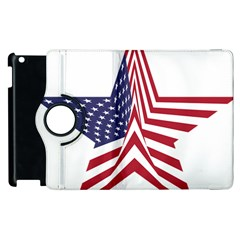 A Star With An American Flag Pattern Apple Ipad 3/4 Flip 360 Case by Nexatart