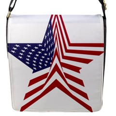 A Star With An American Flag Pattern Flap Messenger Bag (s) by Nexatart