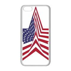 A Star With An American Flag Pattern Apple Iphone 5c Seamless Case (white) by Nexatart