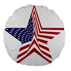 A Star With An American Flag Pattern Large 18  Premium Flano Round Cushions by Nexatart