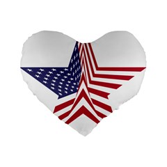 A Star With An American Flag Pattern Standard 16  Premium Flano Heart Shape Cushions by Nexatart