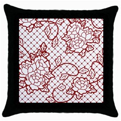 Transparent Decorative Lace With Roses Throw Pillow Case (black) by Nexatart