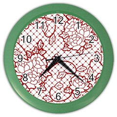 Transparent Decorative Lace With Roses Color Wall Clocks by Nexatart
