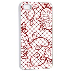 Transparent Decorative Lace With Roses Apple Iphone 4/4s Seamless Case (white) by Nexatart
