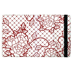 Transparent Decorative Lace With Roses Apple Ipad 2 Flip Case by Nexatart