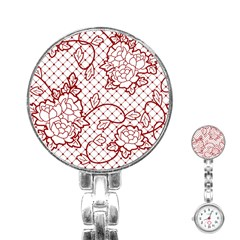 Transparent Decorative Lace With Roses Stainless Steel Nurses Watch by Nexatart