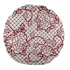 Transparent Decorative Lace With Roses Large 18  Premium Flano Round Cushions by Nexatart