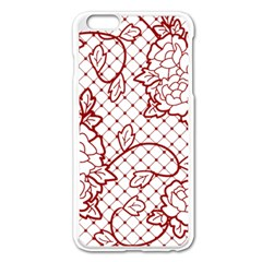 Transparent Decorative Lace With Roses Apple Iphone 6 Plus/6s Plus Enamel White Case by Nexatart