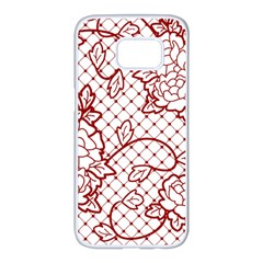 Transparent Decorative Lace With Roses Samsung Galaxy S7 Edge White Seamless Case by Nexatart