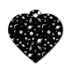 Space Pattern Dog Tag Heart (two Sides) by ValentinaDesign