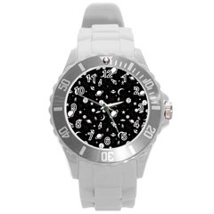 Space Pattern Round Plastic Sport Watch (l) by ValentinaDesign