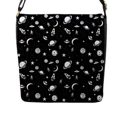 Space Pattern Flap Messenger Bag (l)  by ValentinaDesign