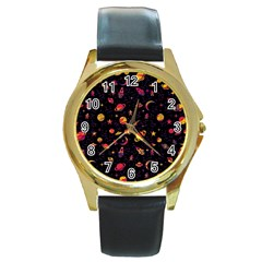 Space Pattern Round Gold Metal Watch by ValentinaDesign