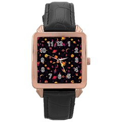 Space Pattern Rose Gold Leather Watch  by ValentinaDesign
