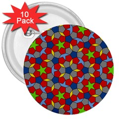 Penrose Tiling 3  Buttons (10 Pack)  by Nexatart