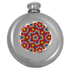 Penrose Tiling Round Hip Flask (5 Oz) by Nexatart