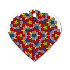 Penrose Tiling Dog Tag Heart (two Sides) by Nexatart