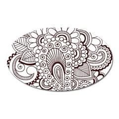 Henna Line Art Clipart Oval Magnet by Nexatart