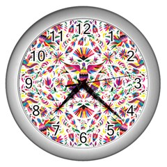 Otomi Vector Patterns On Behance Wall Clocks (silver)  by Nexatart