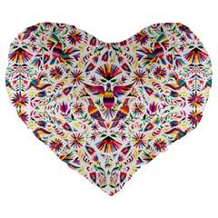 Otomi Vector Patterns On Behance Large 19  Premium Flano Heart Shape Cushions by Nexatart