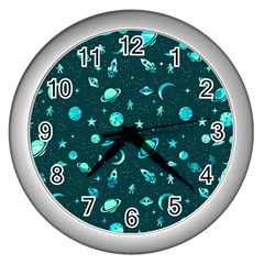Space Pattern Wall Clocks (silver)  by ValentinaDesign