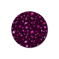Space Pattern Rubber Round Coaster (4 Pack)  by ValentinaDesign