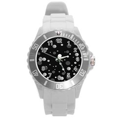 Decorative Dots Pattern Round Plastic Sport Watch (l) by ValentinaDesign